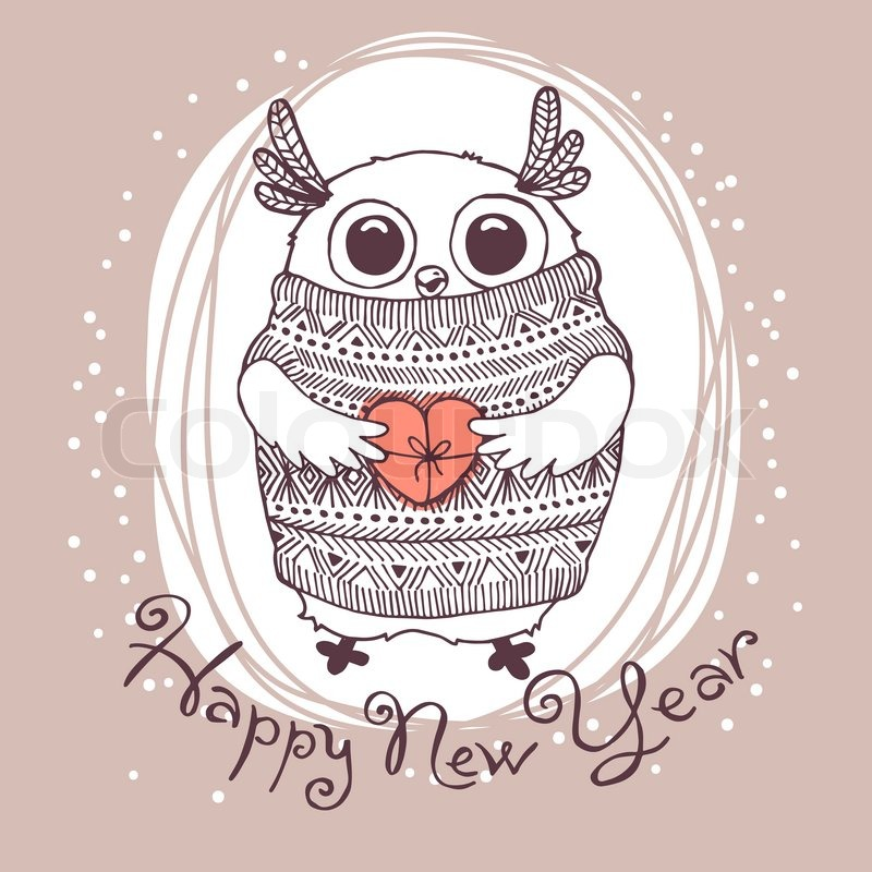 hand drawn vector illustration with cute eagle owl happy new year card stock vector colourbox