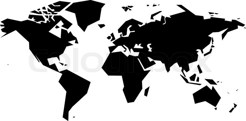 Simplistic world map. Eps8. RGB. One global color. Gradients free ...