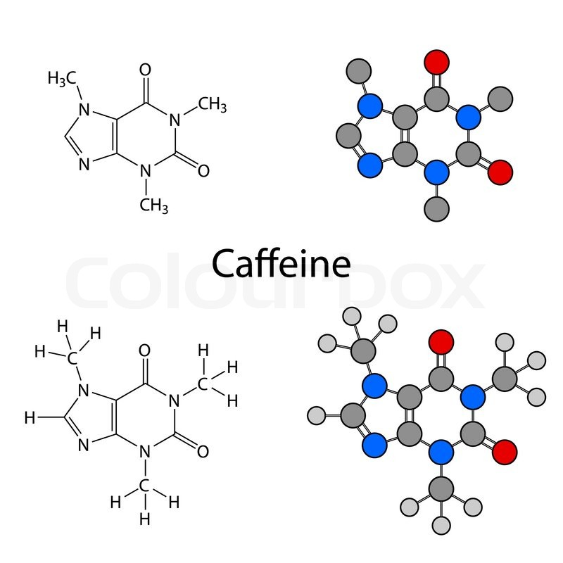 Caffeine Molecule Structural Chemical Formulas And Models