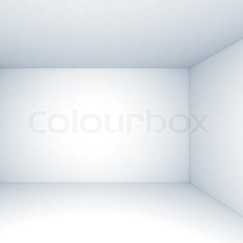 Empty White Room Interior Background With Corner And Soft