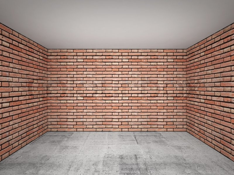 Empty Room Interior With Red Brick Walls Front View 3d