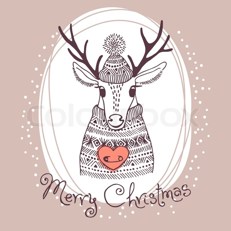 Hand drawn vector illustration with cute deer. Merry Christmas card ...