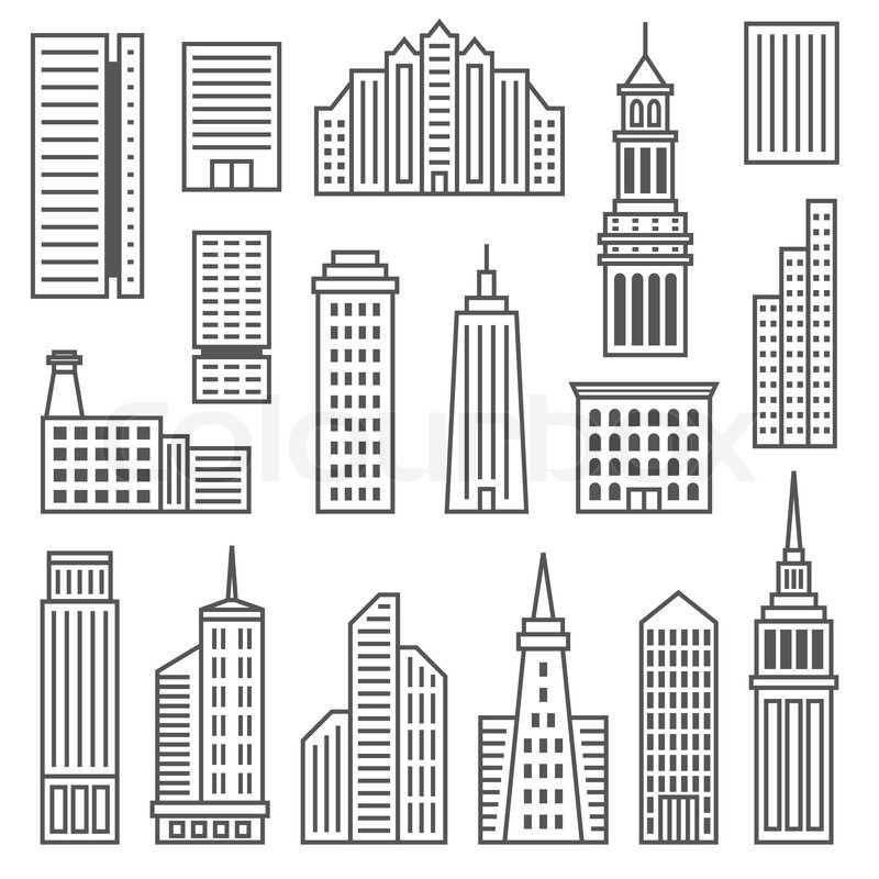 Skyscrapers Icons Modern Vector Gray Silhouettes Of Buildings And