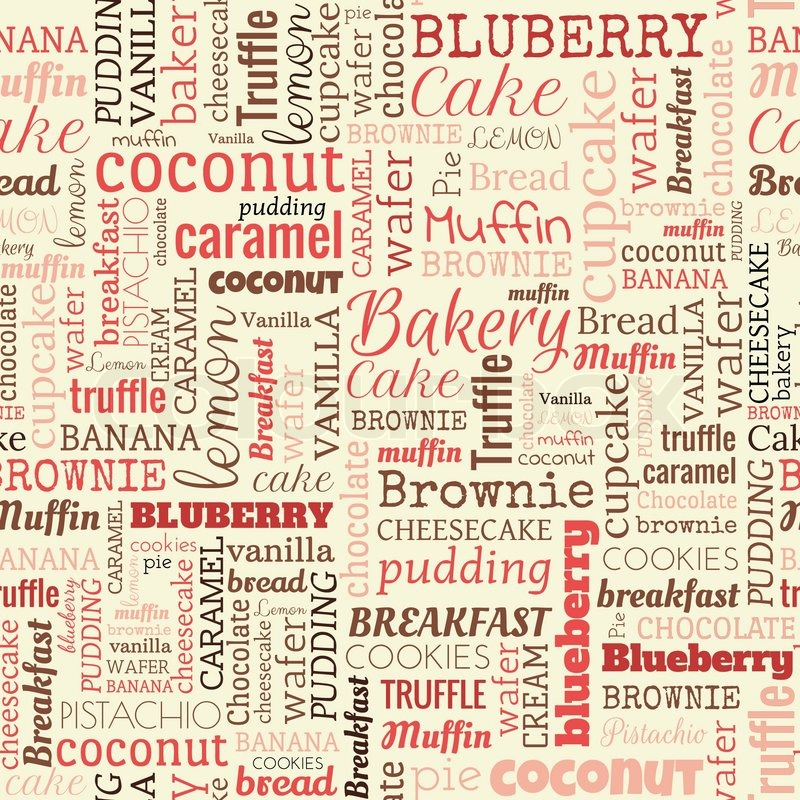 Bakery Words, Tags. Seamless Pattern On The Beige