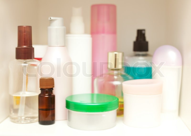 Skin Care cosmetics on the shelf in the closet. With selective focus, stock photo