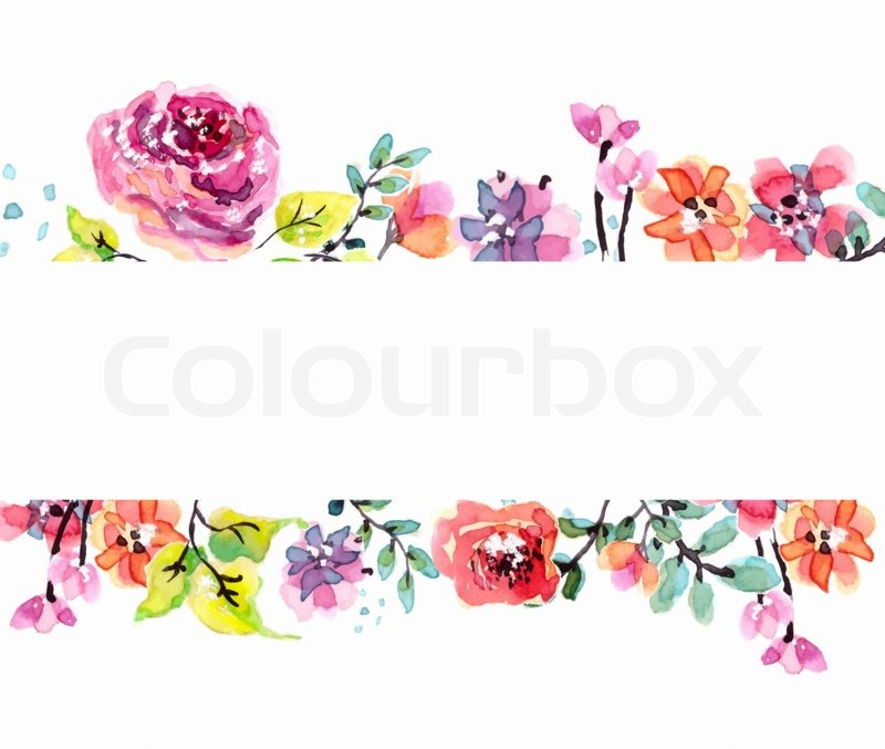 Flower Frame Line Drawing : Watercolor floral frame beautiful natural illustration