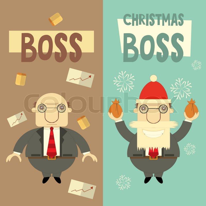 Merry christmas greeting card with cartoon santa claus boss and merry christmas greeting card with cartoon santa claus boss and angry boss vector illustration stock vector colourbox m4hsunfo