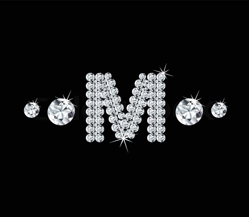 Diamond Vector Alphabetic Letter M With Bright Stars And Brilliants