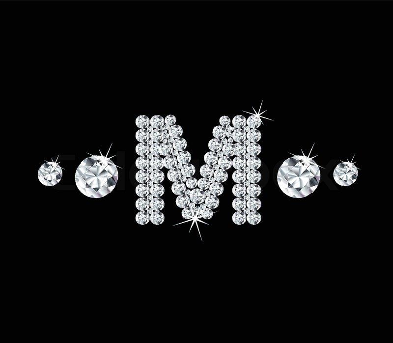 M Letter In Black Diamonds Diamond vector ...