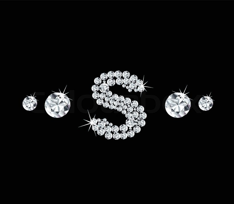 Diamond vector alphabetic letter \'S\' with bright stars and ...
