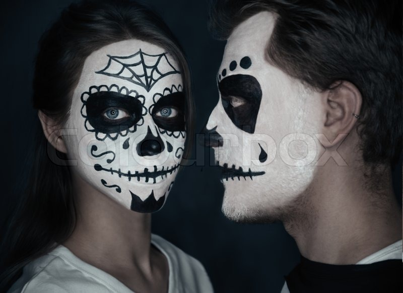 young couple in love with sugar skull makeup halloween face art stock photo colourbox