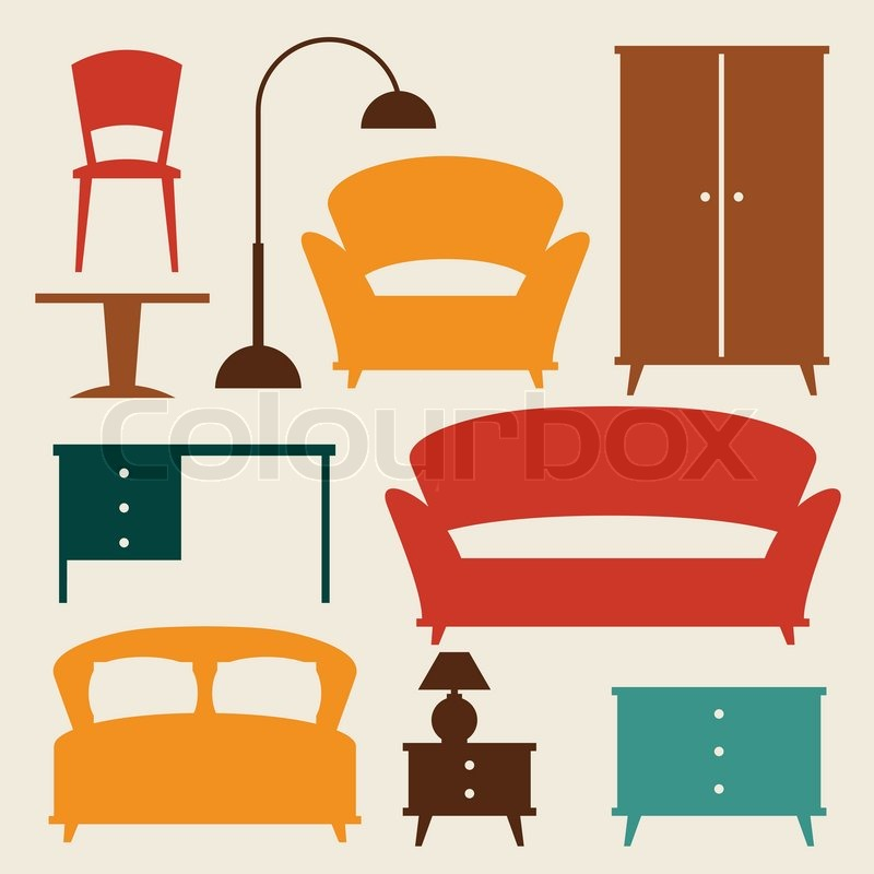 retro style furniture cheap. delighful furniture interior icon set with furniture in retro style vector throughout retro style furniture cheap