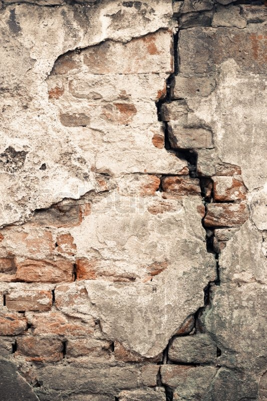 Old damaged wall with a big crack ... | Stock Photo ...