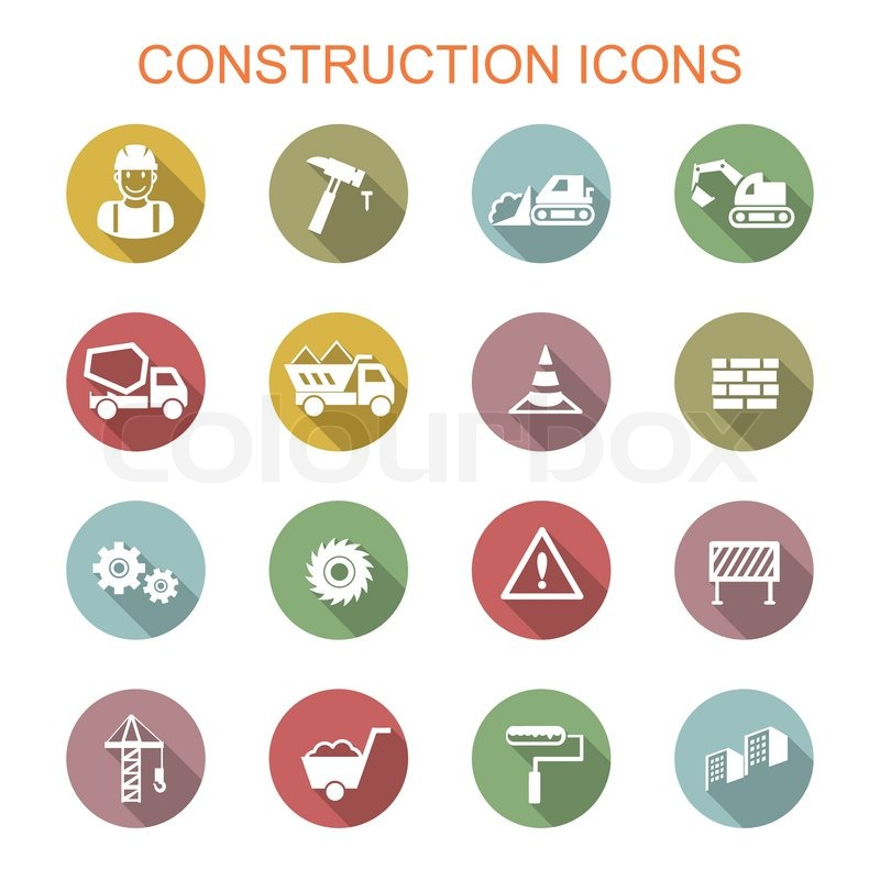 Construction Long Shadow Icons Flat Vector Symbols Stock Vector