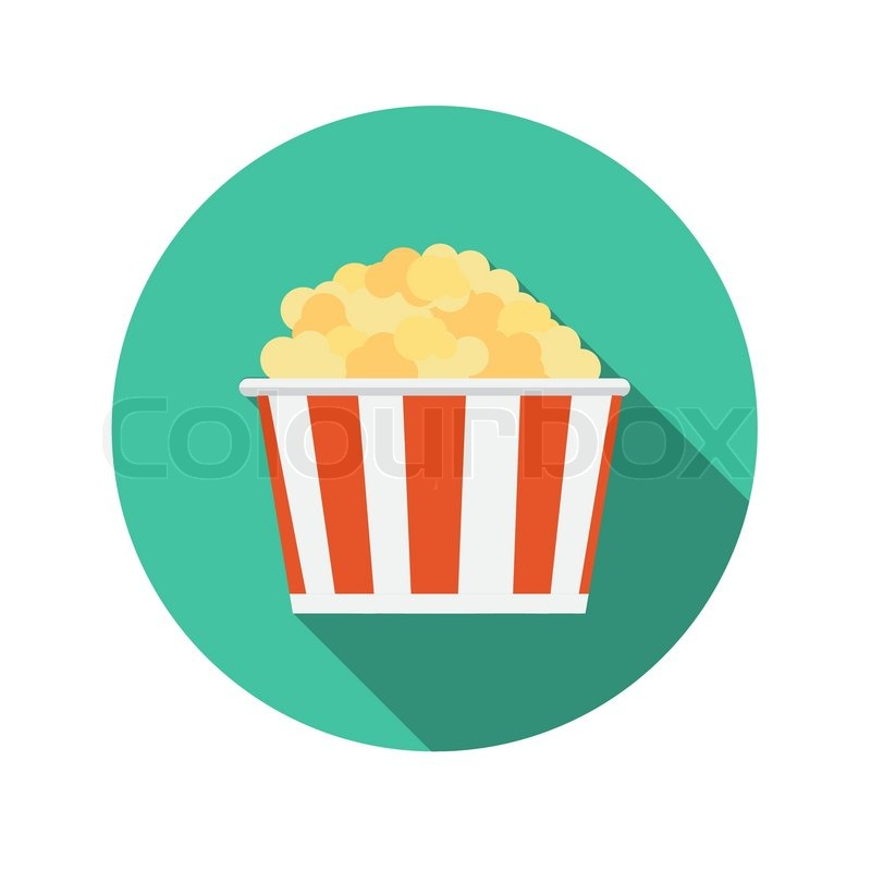 Flat Design Concept Popcorn Icon Vector Illustration With ...