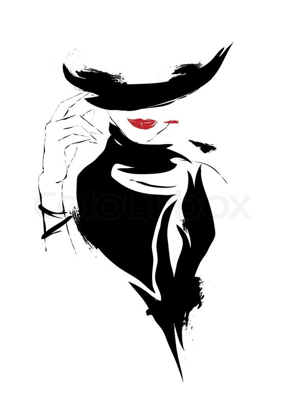Modern Girl, Sketch, Red Lips, White   Stock Vector -1979