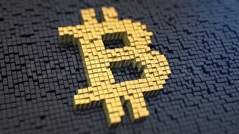 Bitcoin Symbol Of The Yellow Square Pixels On A Black Matrix