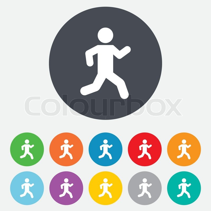 Running sign icon. Human sport symbol. Round colourful 11 buttons ...