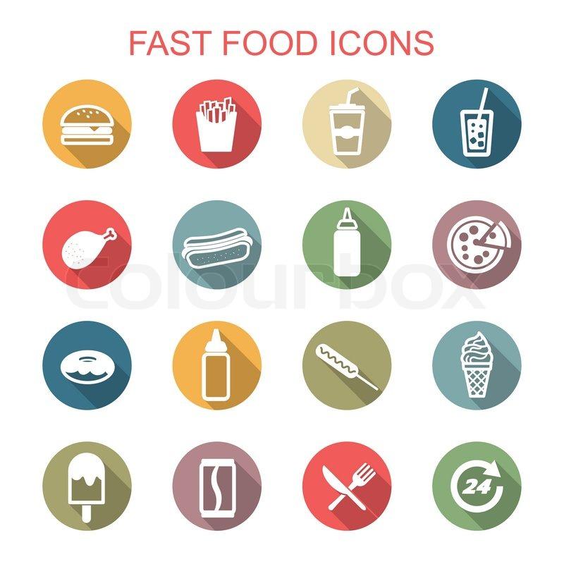 Fast Food Long Shadow Icons Flat Vector Symbols Stock Vector