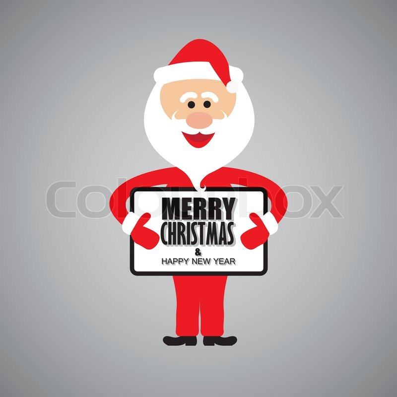 Happy funny santa claus greeting merry christmas & happy new year ...