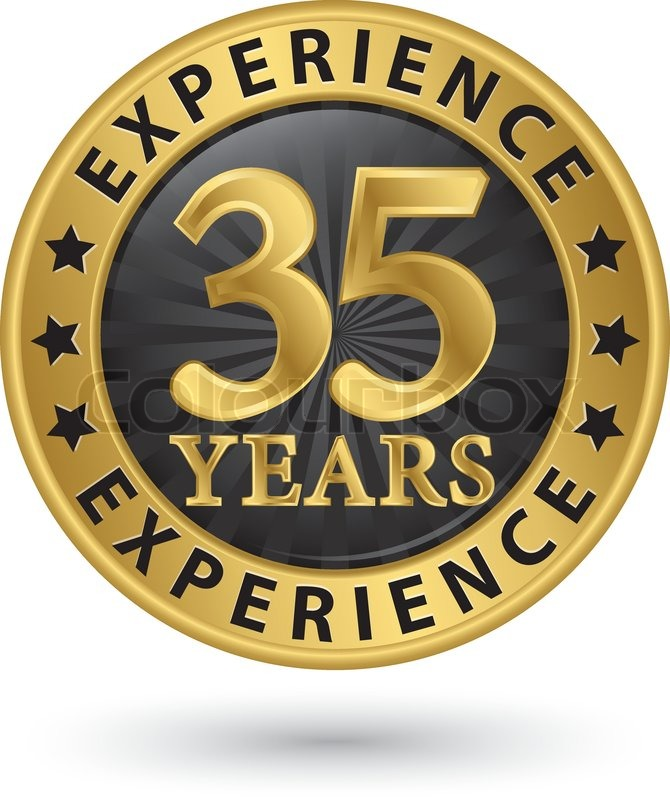 35 Years Experience Gold Label Vector Illustration