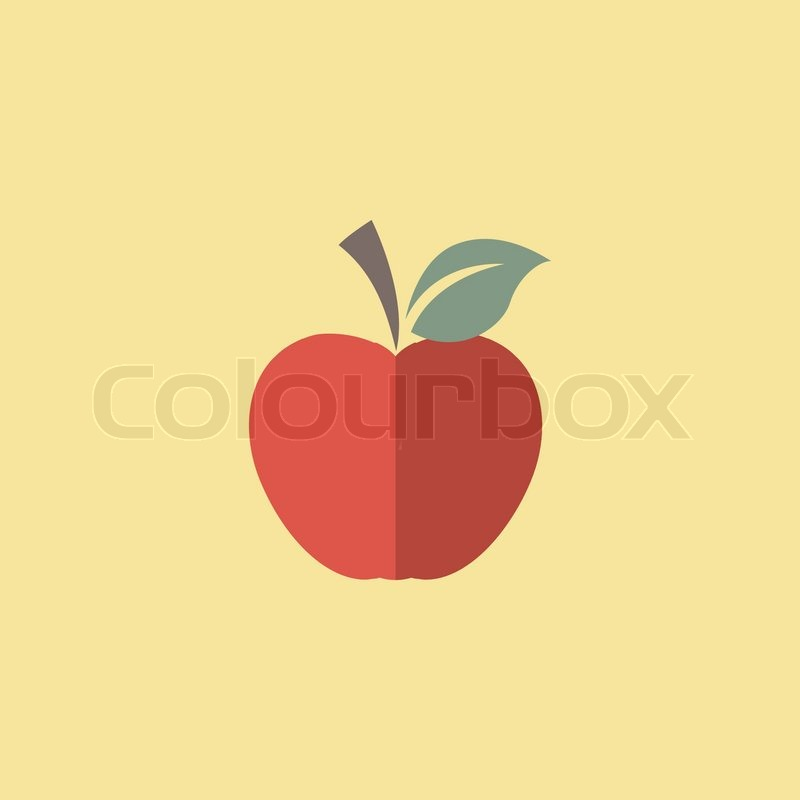 Flat Apple Icon. Vector Graphics. | Stock Vector | Colourbox