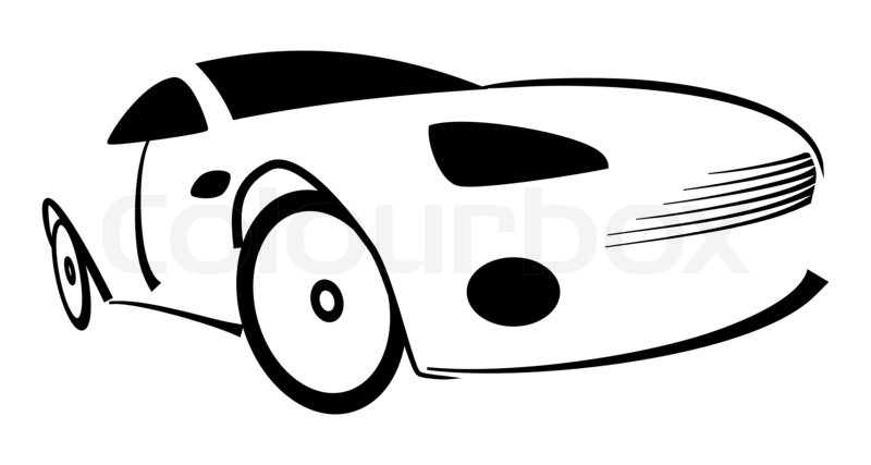 Racing Car Silhouette Illustration On White Stock