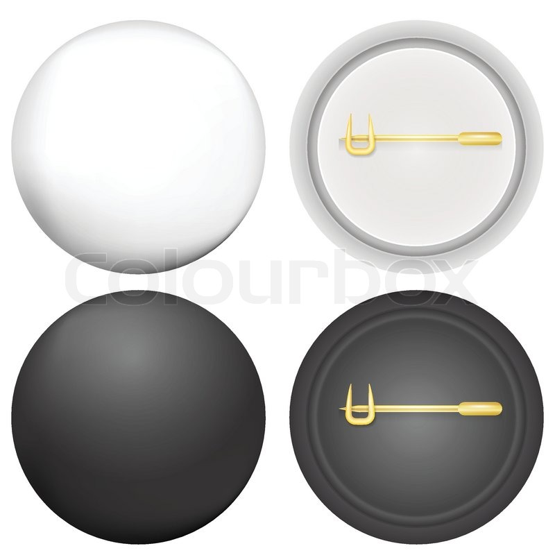 Stock vector of u0026#39;Blank black and white badges mock up with golden pin ...