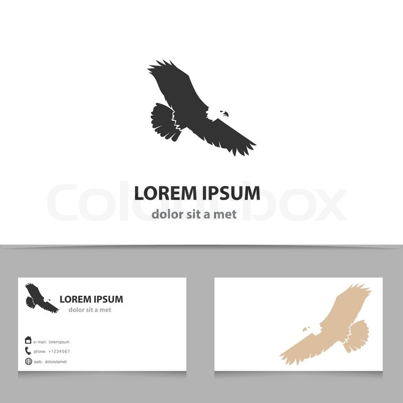 Abstract vector eagle logo design template with business card ...