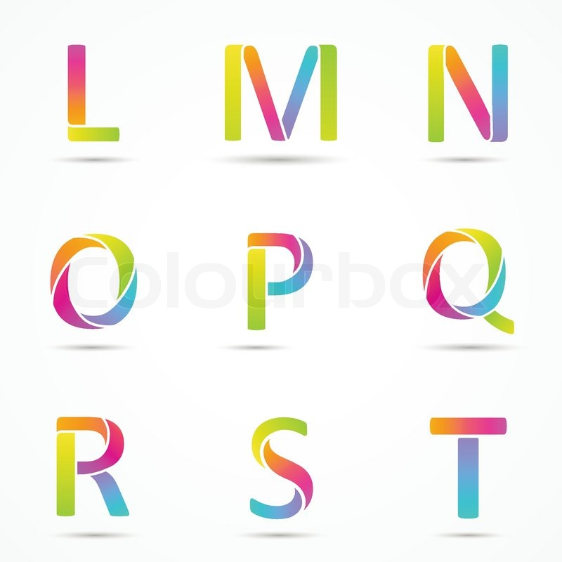 logo letters l m n o p q r s t company vector design