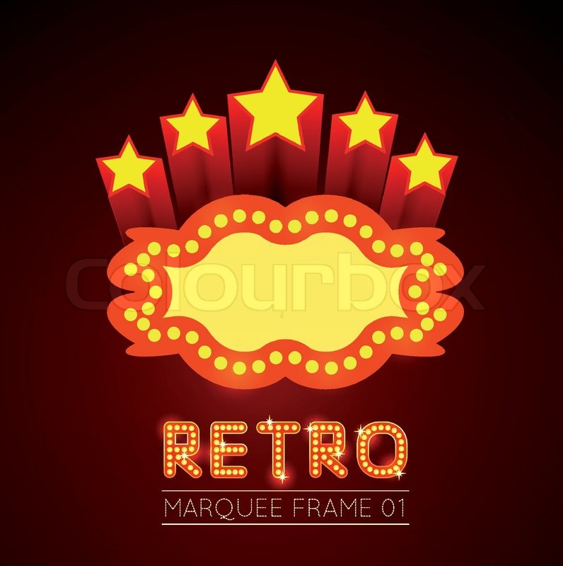 Vector Blank Movie Theater Or Casino Marquee With Stars