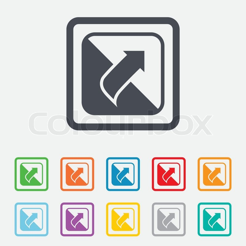 Turn Page Sign Icon Peel Back The Corner Of Sheet Symbol Round Squares Buttons With Frame Vector