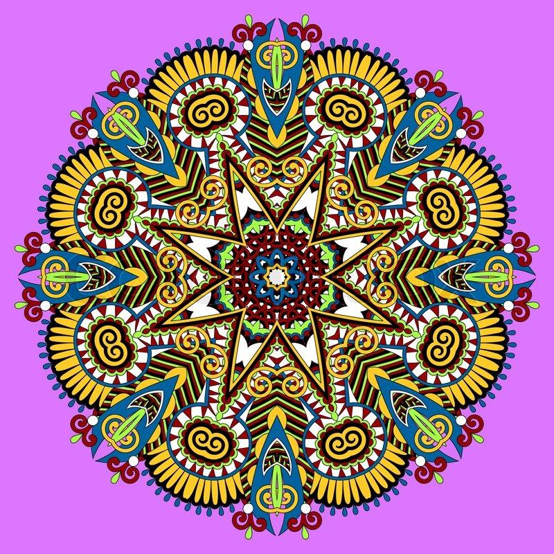 Mandala circle decorative spiritual indian symbol of lotus flower mandala circle decorative spiritual indian symbol of lotus flower round ornament pattern vector illustration stock vector colourbox mightylinksfo