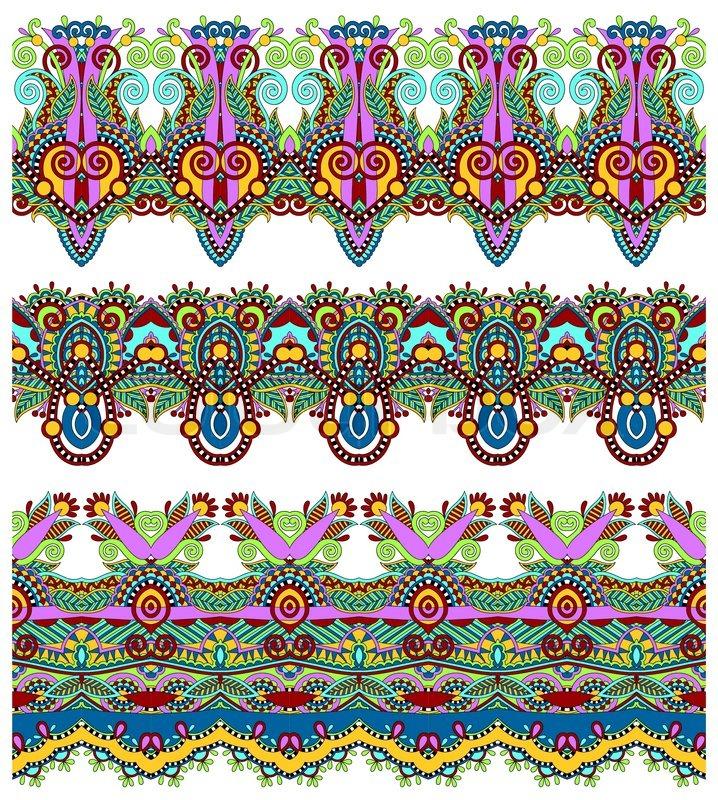 Seamless Ethnic Floral Paisley Stripe Pattern Border Set Ukrainian