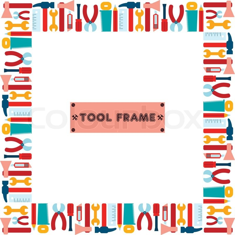 trendy flat working tools cartoon square frame vector illustration