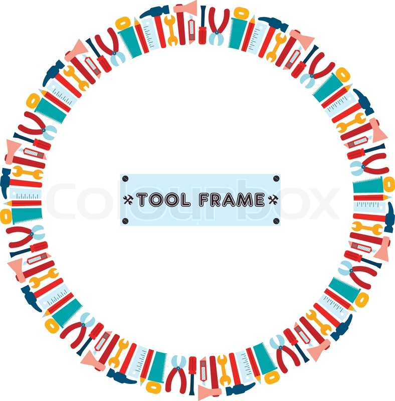 stock vector of trendy flat working tools cartoon circle frame vector illustration