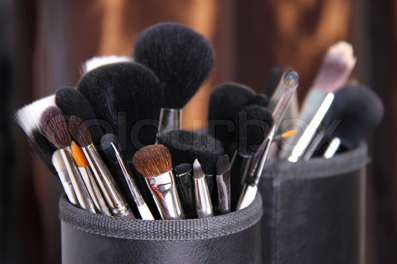 Bunch of professional makeup brushes , stock photo
