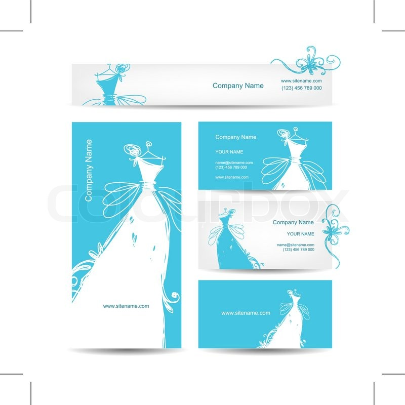Business cards with wedding dress for your design, vector ...