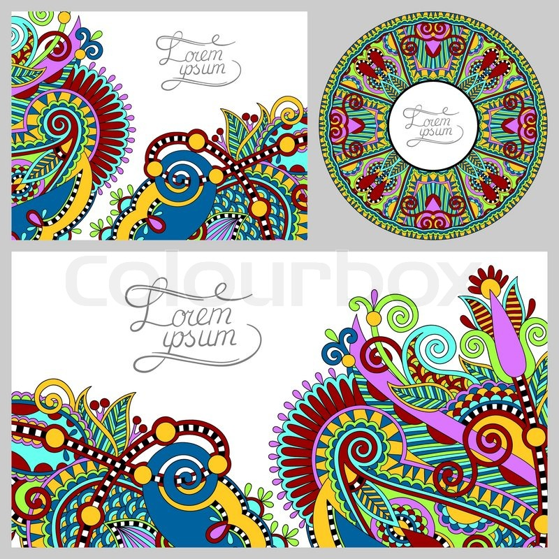 Set of floral decorative background, template frame design for ...