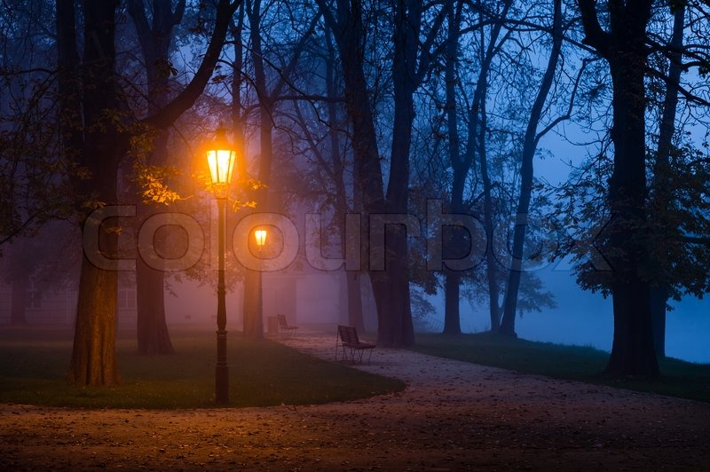 Stock image of 'Vintage lamp in the city park during dawn'
