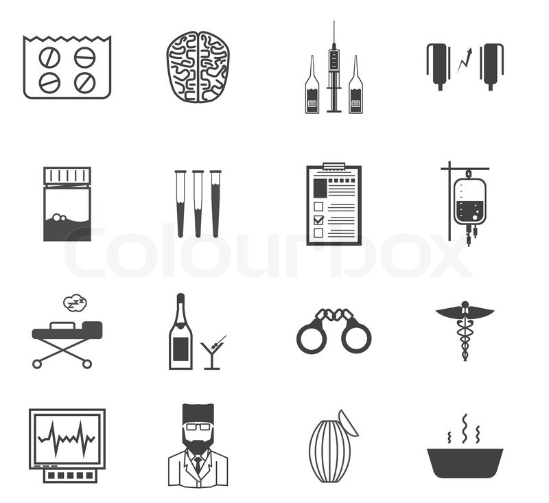 Set Of Black Vector Icons With Symbols Of Elements For Psychiatry