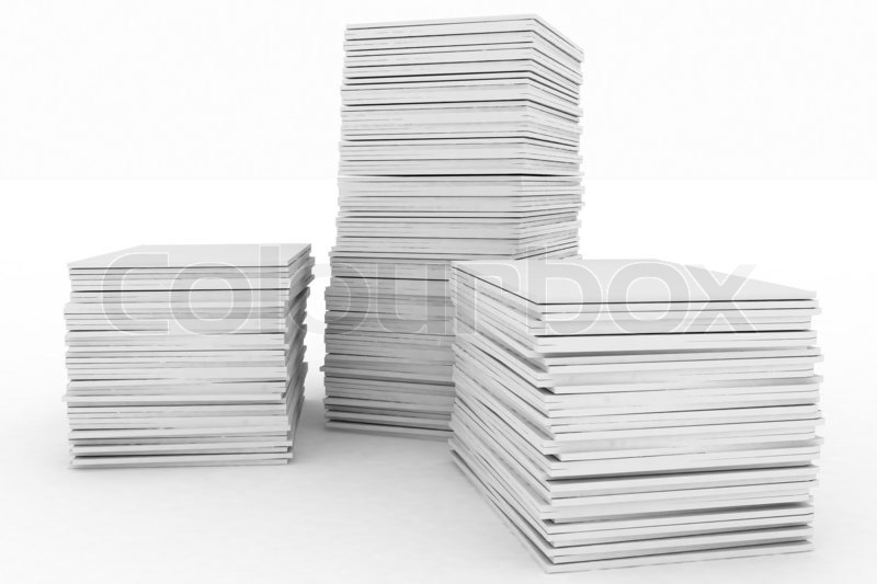 3d Render Illustration Big Piles Of Paper Stock Photo