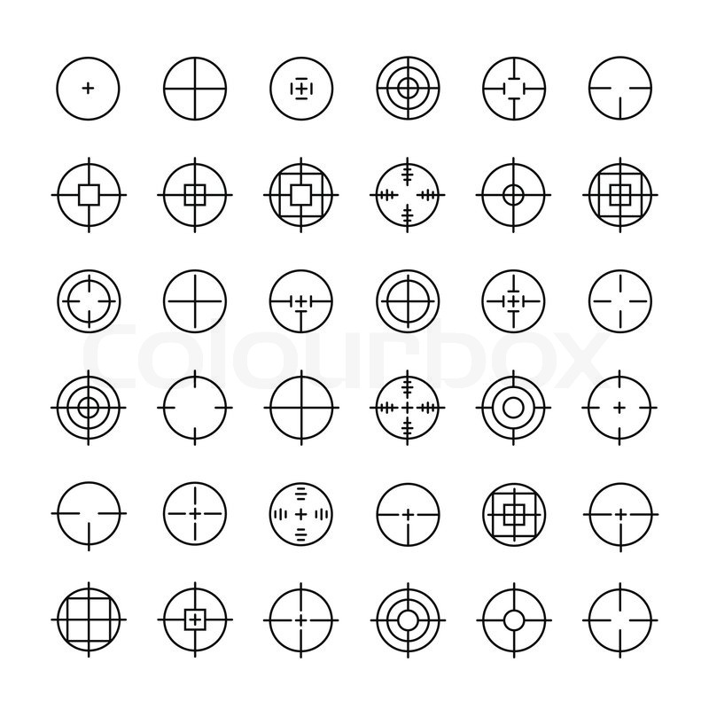 Set Of Different Flat Vector Crosshair Sign Icons Line Simple