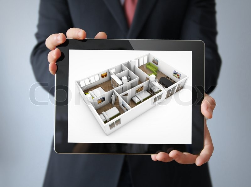Interior Design Concept: Businessman With A Tablet With Interior Design App  On The Screen | Stock Photo | Colourbox