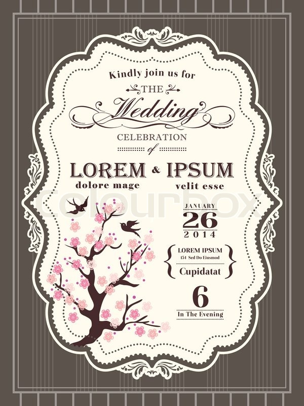 Vintage Cherry Blossom Wedding Invitation Card Border And Frame Background