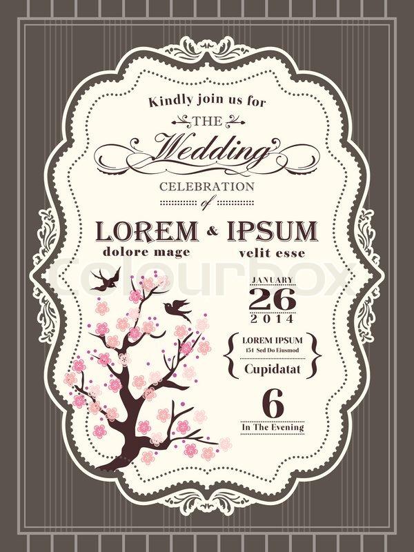 Vintage cherry blossom Wedding invitation card border and frame ...
