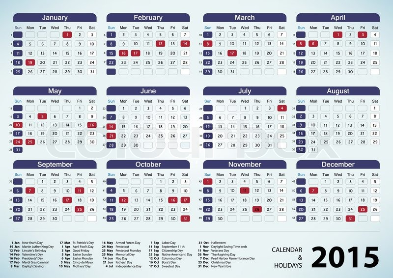 Calendar With Holidays Usa : Calendar usa holidays new template site