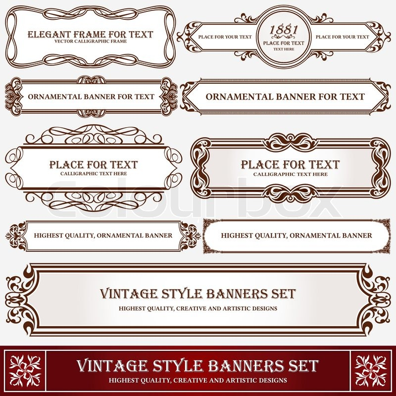 Vintage Style Banners And Labels Artistic Design Page Decoration Typographic Elements Set Of Floral Creative Frames Decor Ideas
