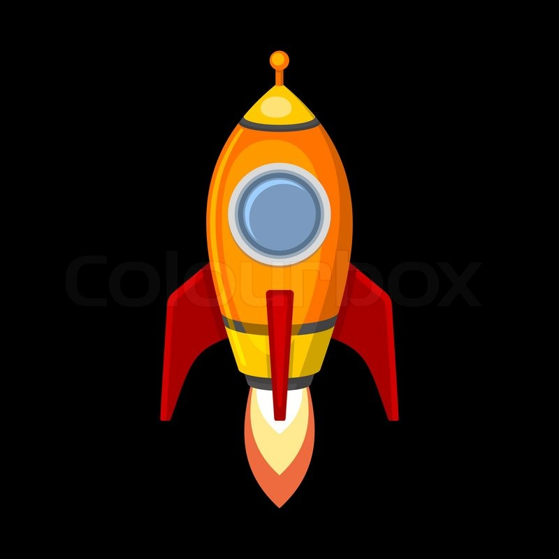 comic rocket ship in cartoon style isolated on black Cartoon Rocket Launch free cartoon rocket ship clip art