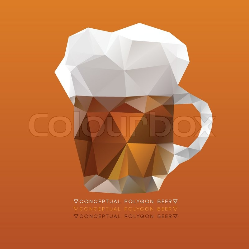 modern polygon illustration of glass of beer vector triangle design